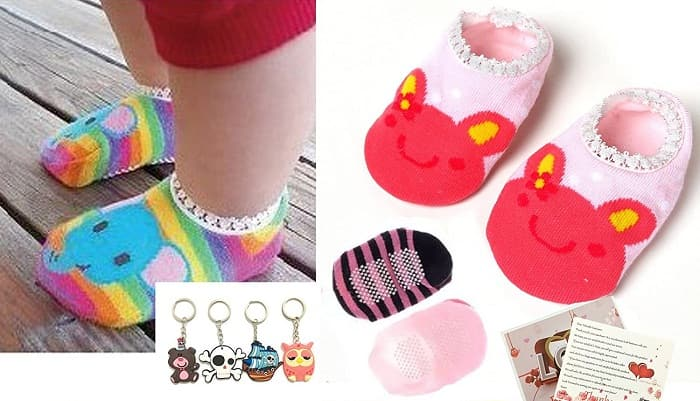 Fly-love 5 Pairs Cute Baby Toddler Stripes Anti Slip Skid Socks